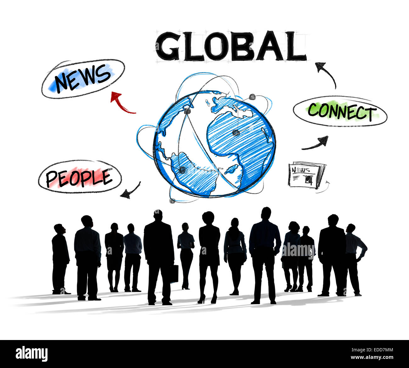 Group of Diverse Busiiness People Global Communication - Stock Image