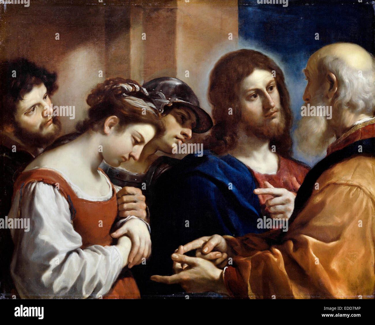 Guercino, The Woman Taken in Adultery. Circa 1621. Oil on canvas. Dulwich Picture Gallery, London, England. - Stock Image