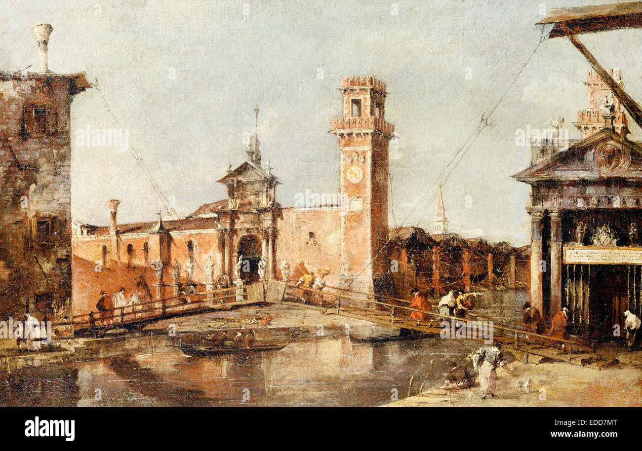 Francesco Guardi, The Entrance to the Arsenal in Venice 1777-1793 Oil on canvas. Kunsthistorisches Museum, Vienna, - Stock Image