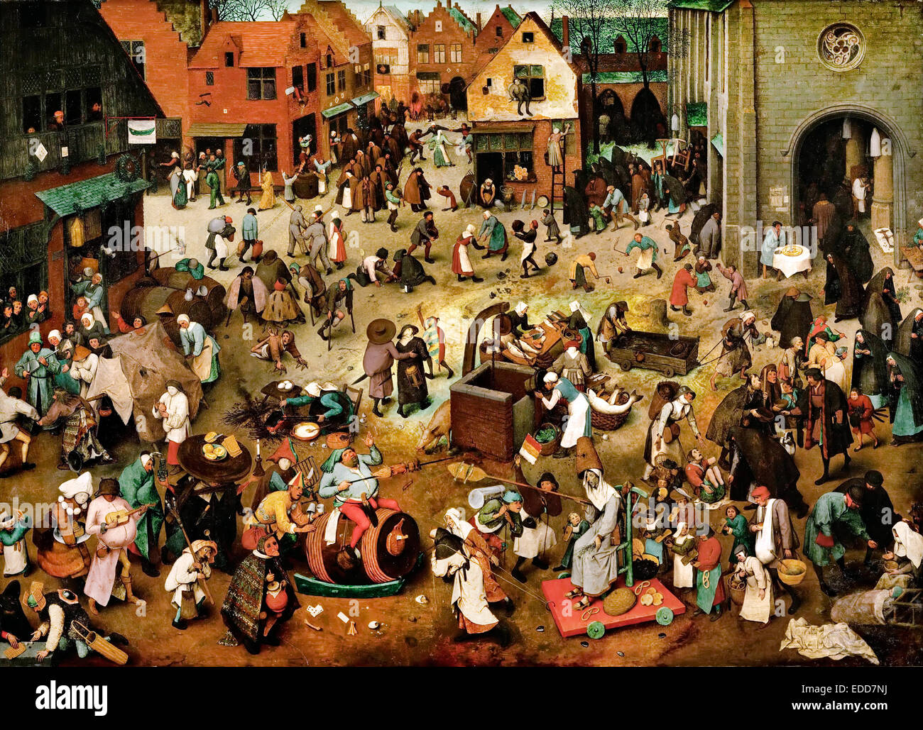 Pieter Brueghel the Elder, The Fight Between Carnival and Lent 1559 Oil on panel. Kunsthistorisches Museum, Vienna, Stock Photo