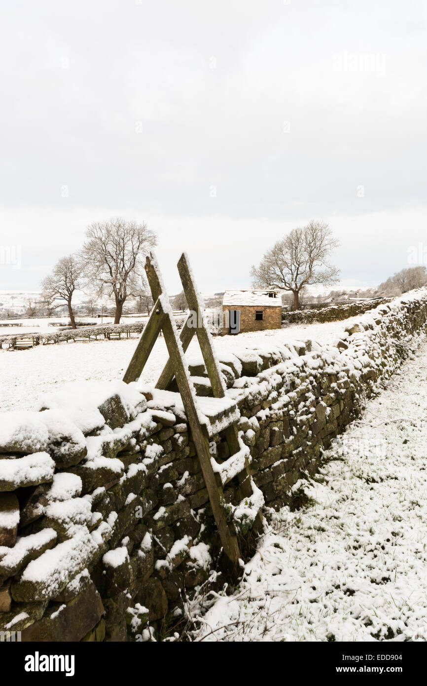 Ladder style in the snow in Wensleydale - Stock Image