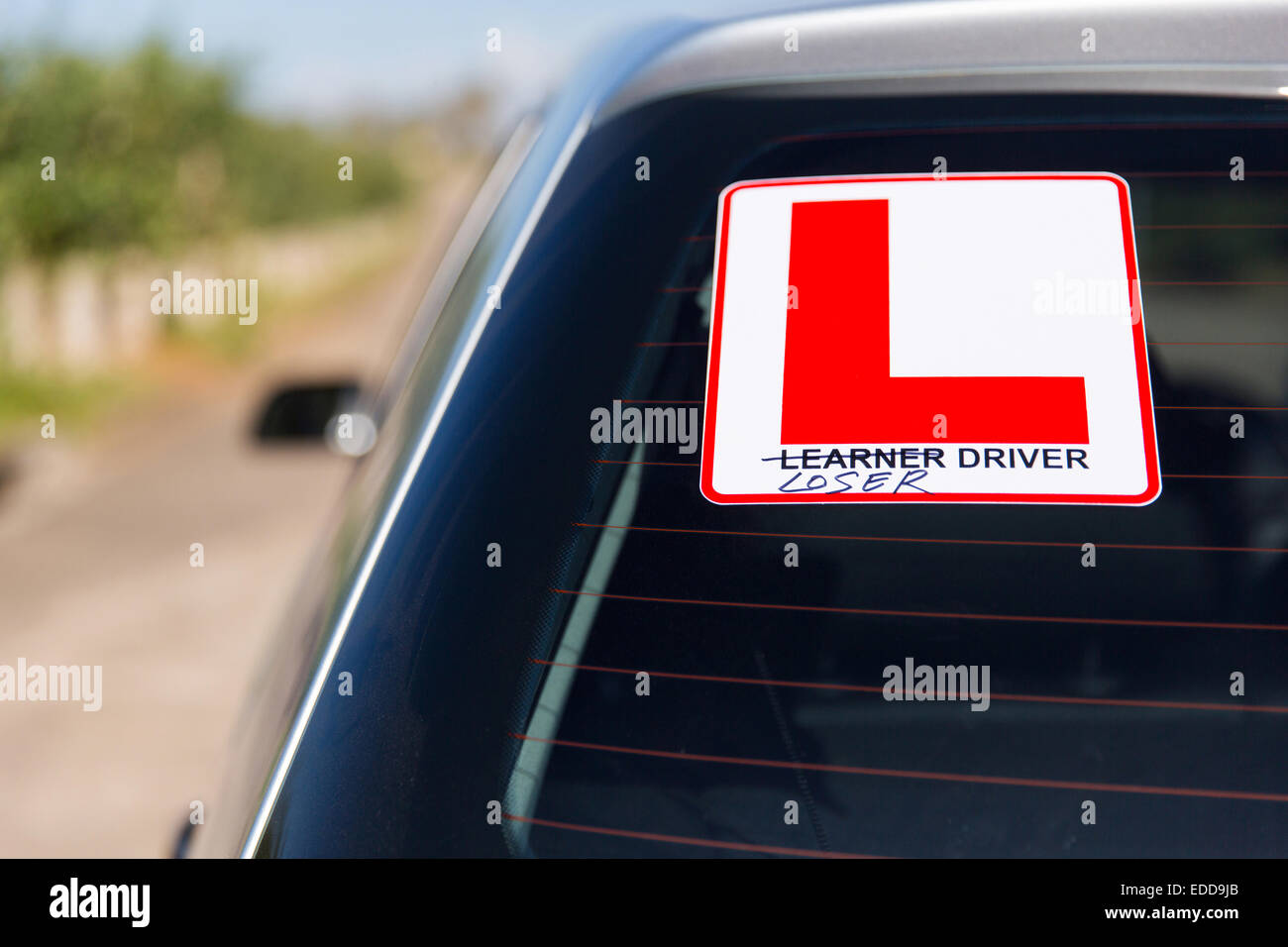 funny sign: leaner driver or loser driver - Stock Image