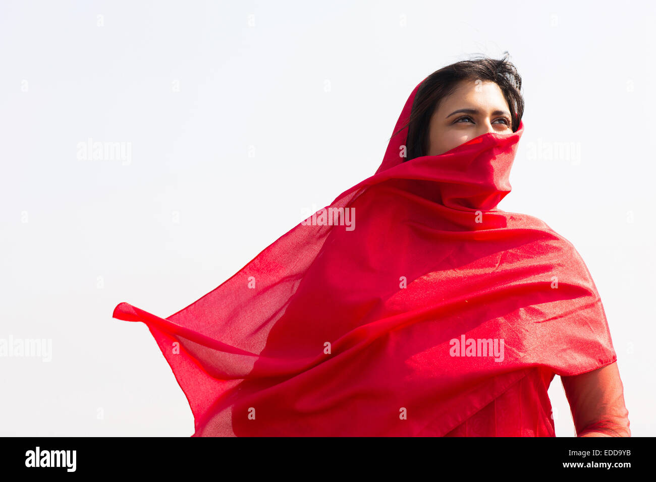 thoughtful Indian woman in sari covering her face with veil - Stock Image