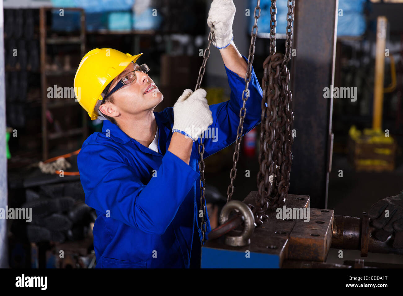 skilled male industrial worker at work - Stock Image