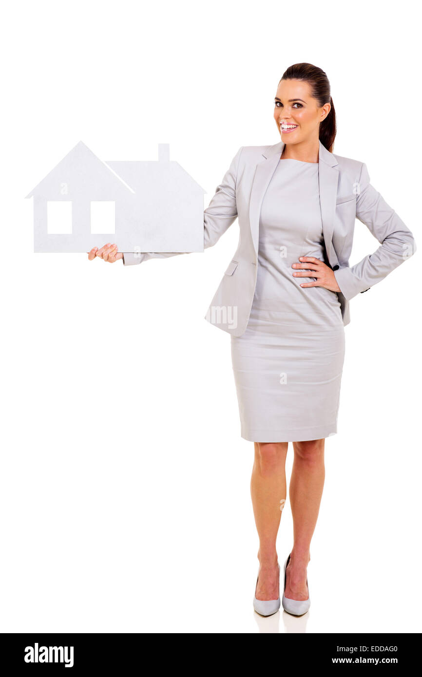 successful real estate agent holding paper house isolated on white background - Stock Image
