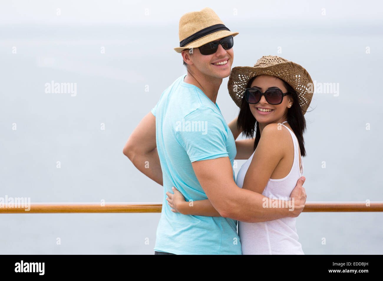 cute young couple on cruise vacation - Stock Image