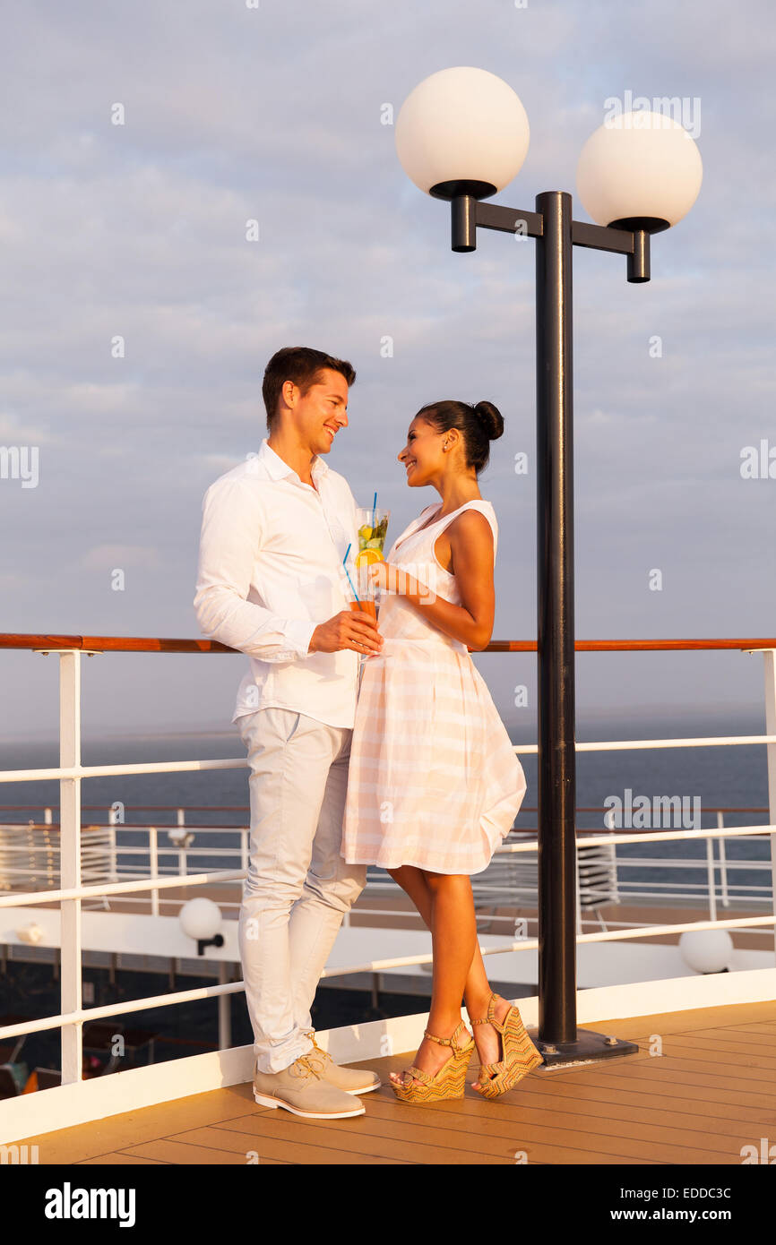 Romantic Couple On Cruise Looking At Each Other Stock