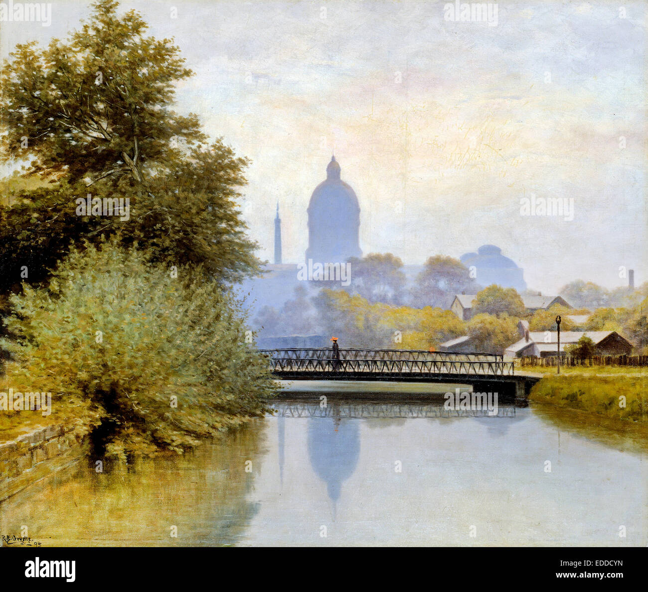 Richard Buckner Gruelle, The Canal Morning Effect 1894 Oil on canvas. Indianapolis Museum of Art, USA. - Stock Image