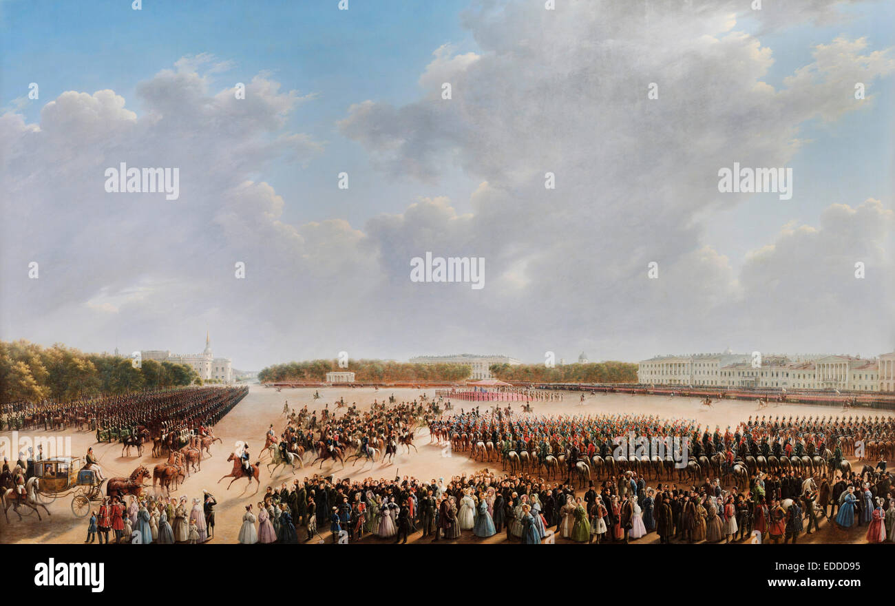 Grigory Chernetsov, Parade Celebrating the End of Military Action in the Kingdom of Poland on Tsaritsa Meadow in - Stock Image