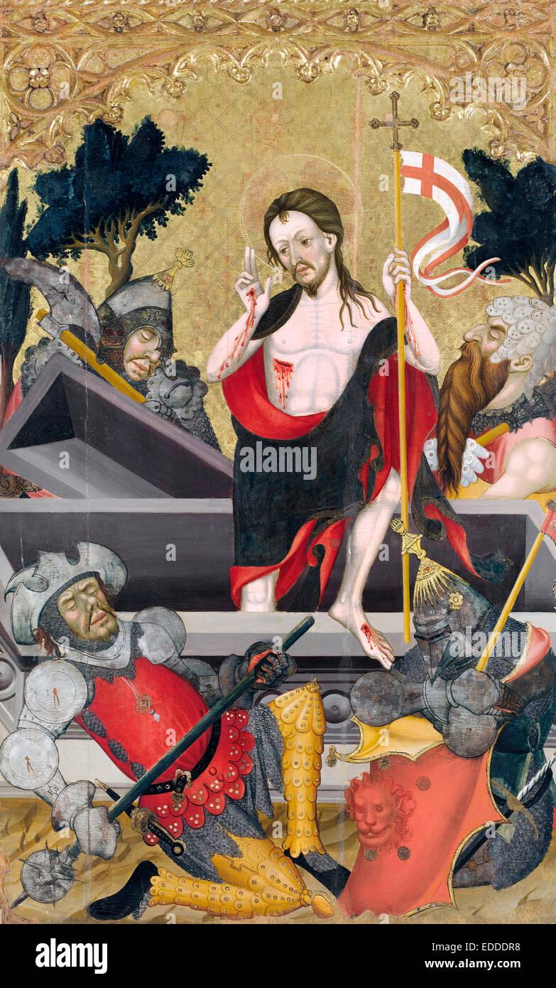 Guerau Gener, Resurrection of Christ 1407-1411 Tempera on wood. Museu Nacional d'Art de Catalunya, Barcelona, - Stock Image