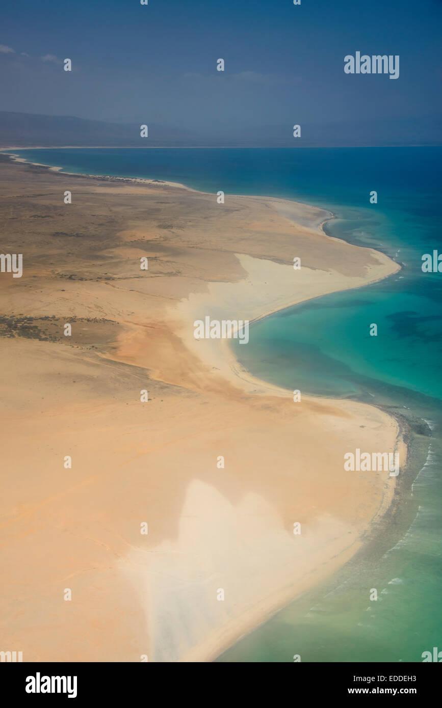 Aerial view, coastline, Socotra, Yemen - Stock Image