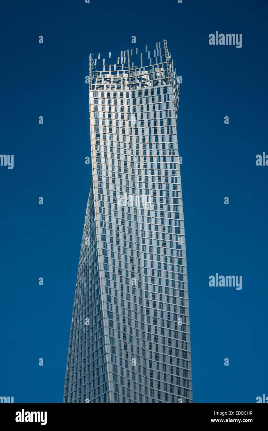 Cayan Tower, twisted skyscraper, Dubai Marina, Dubai, Emirate of Dubai, United Arab Emirates - Stock Image