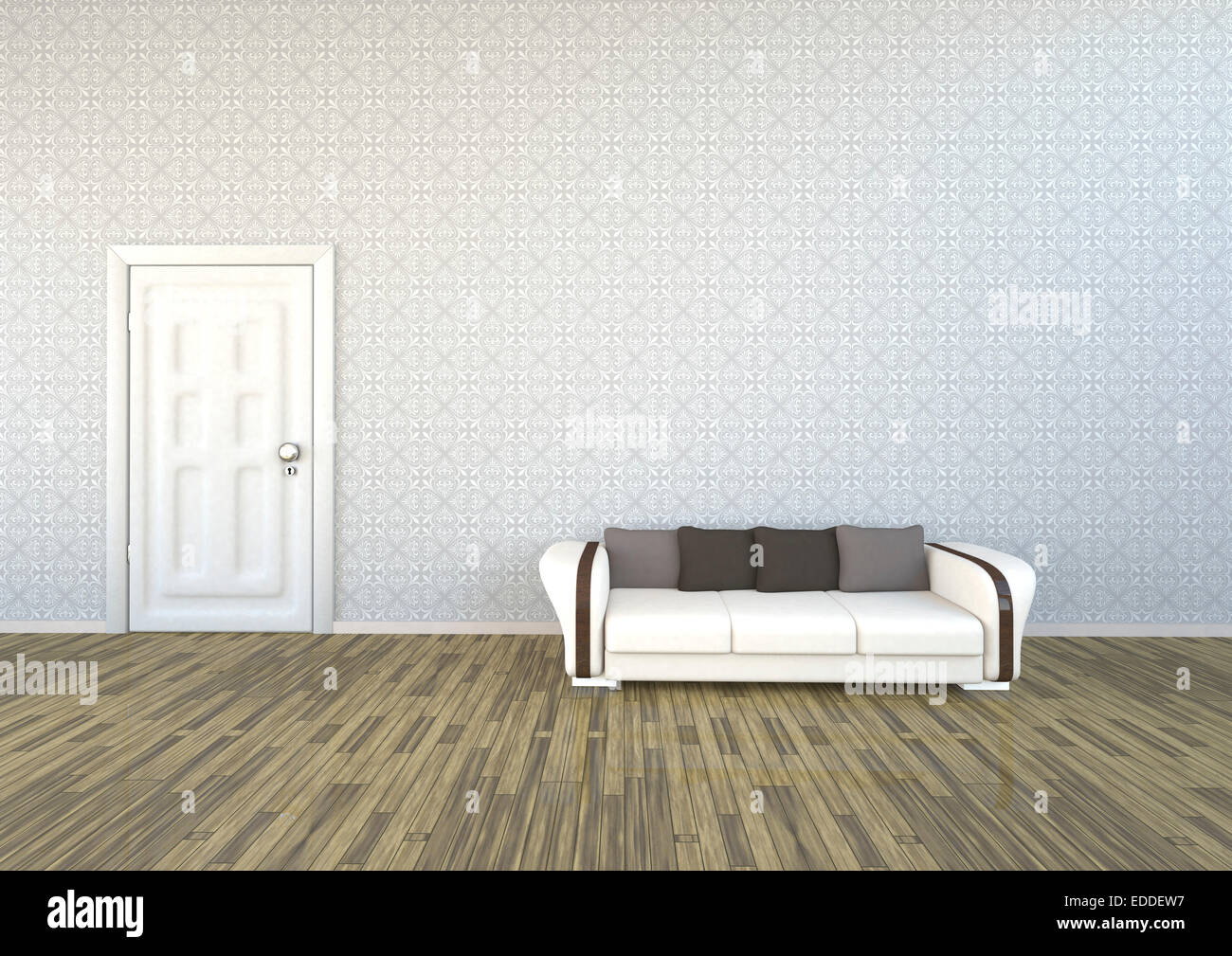 Livingroom with patterned wallpaper, couch and white door, 3D Stock ...