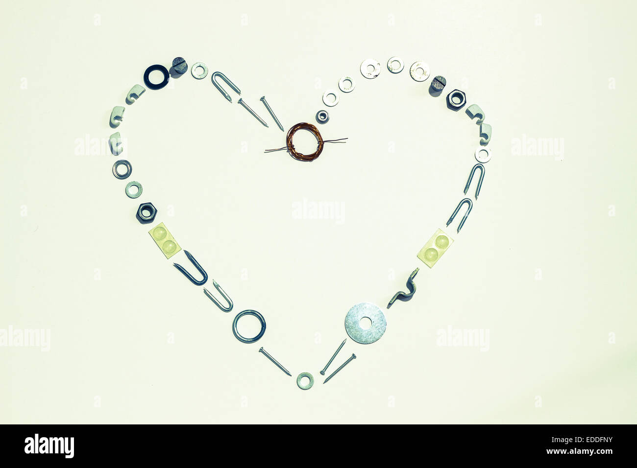 Heart shape formed with hardware - Stock Image