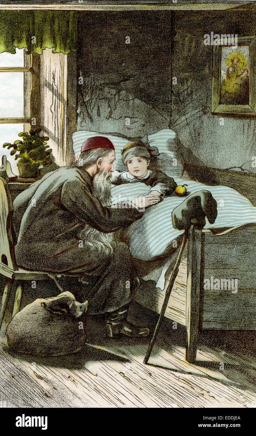 Nikolaus am Bett eines KIndes, Sack, Wanderstab - Stock Image