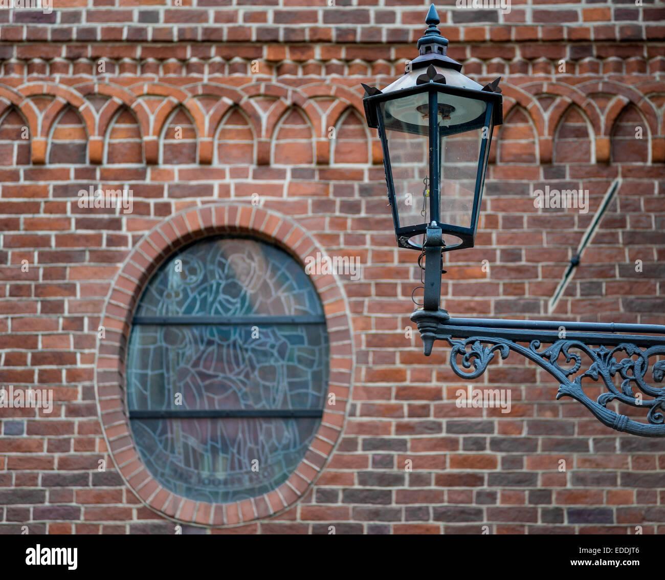 Old iron street gas lamp Wroclaw Ostrow Tumski - Stock Image