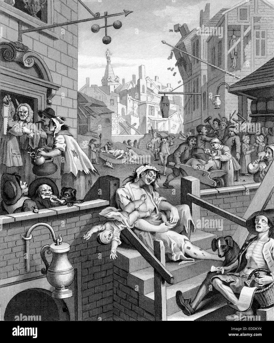 Beer Street and Gin Lane are two prints issued in 1751 by English artist  William Hogarth 1697-1764 in support of what would become the Gin Act