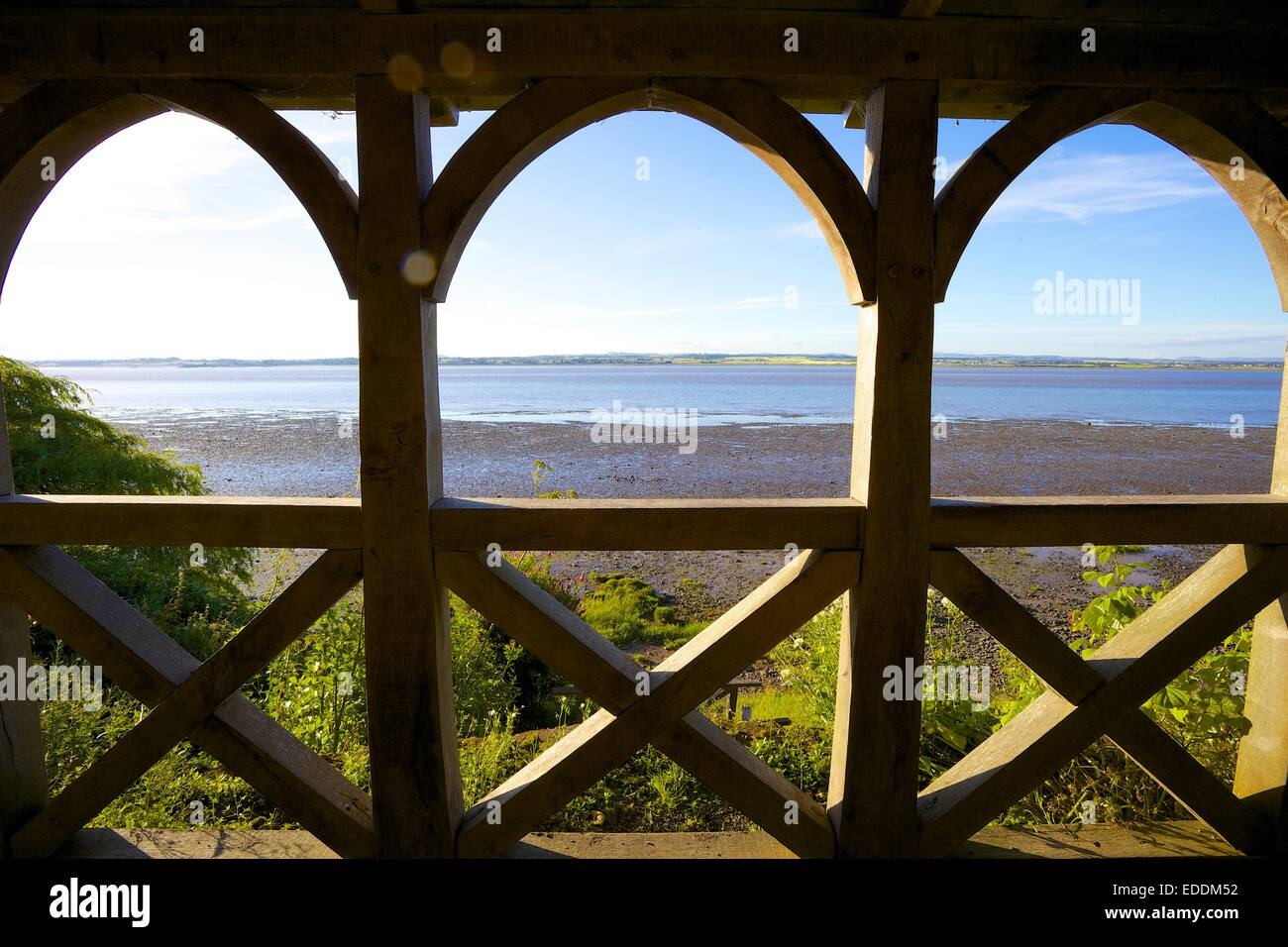 View from Summerhouse at theTerminus of Hadrian's Wall, Bowness-on-Solway Cumbria England UK. - Stock Image