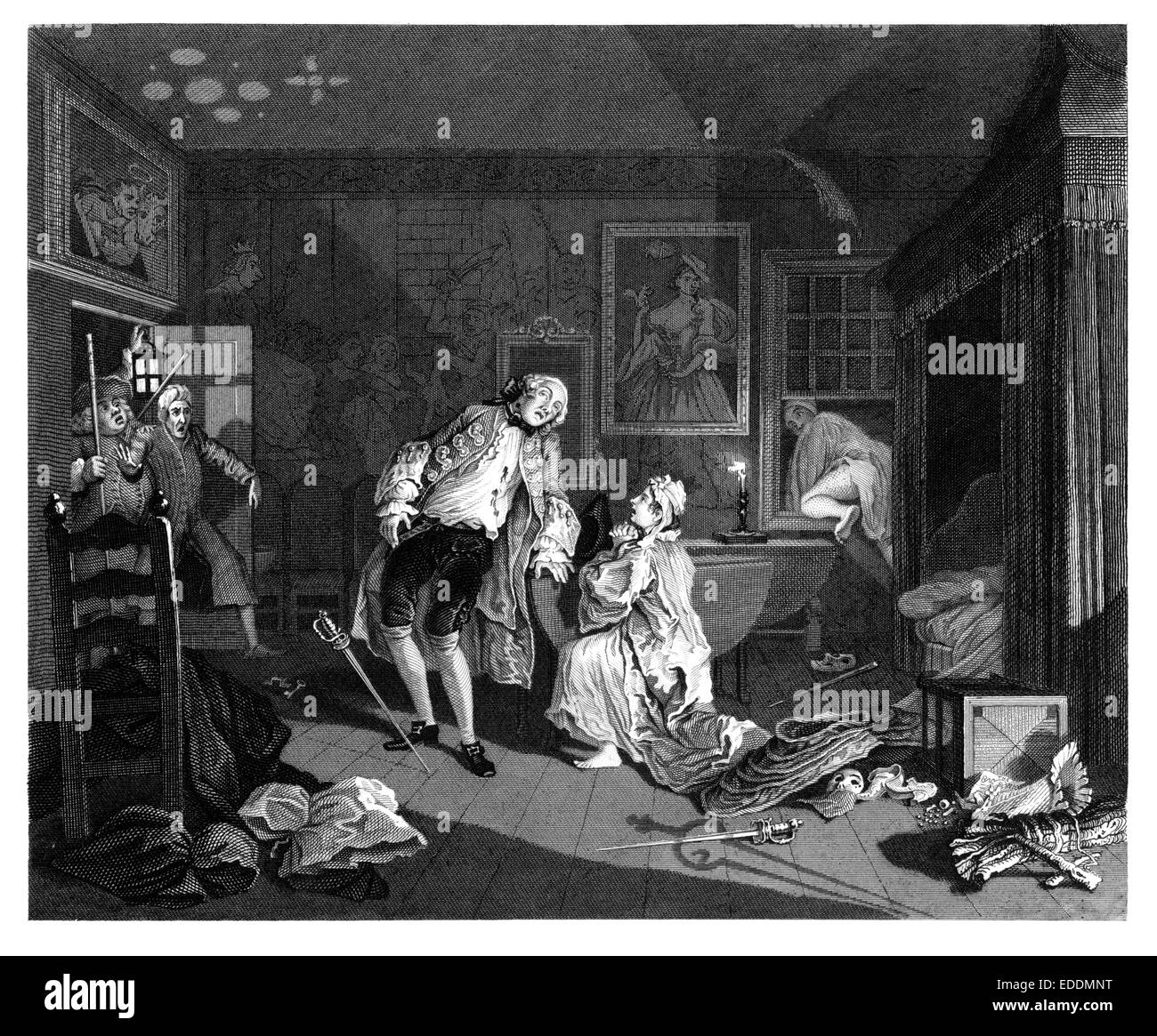 "'Marriage à-la-mode' ""The Bagnio"" engraved from the original painting by English artist William Hogarth 1697-1764 Stock Photo"