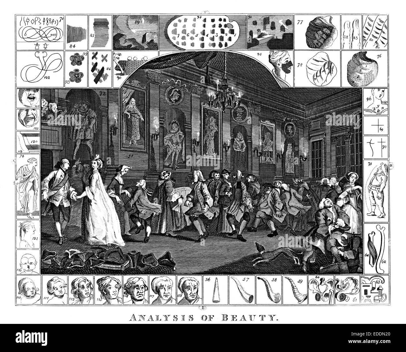 """""""Analysis of Beauty"""" [plate 2] engraved by English artist William Hogarth 1697-1764 Stock Photo"""