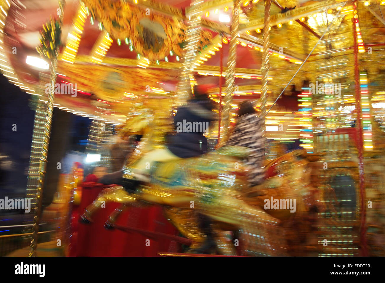Christmas Funfair at Leicester Square in London - Stock Image