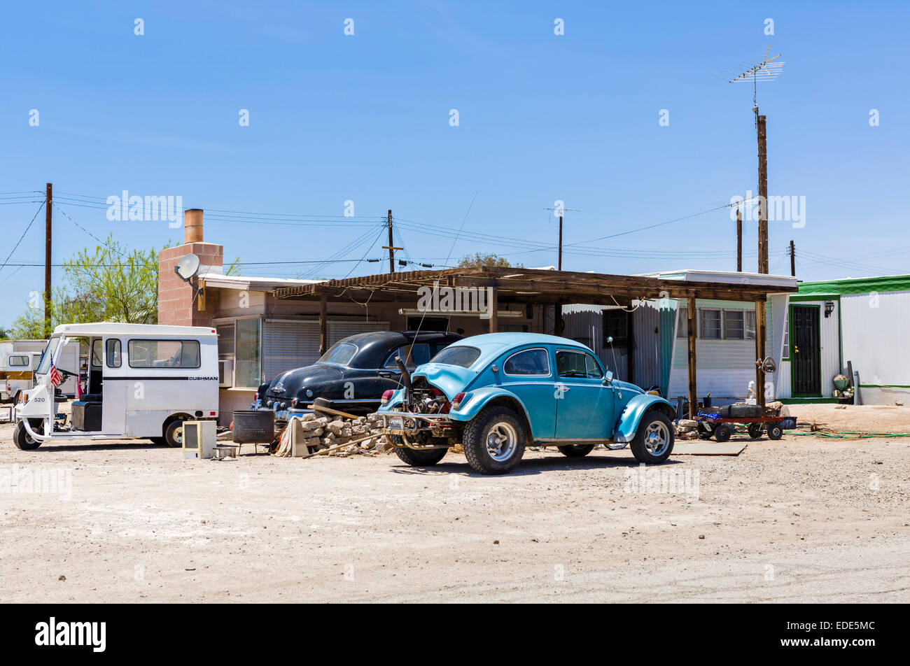 Mobile homes at Bombay Beach on the Salton Sea, Imperial County, California, USA - Stock Image