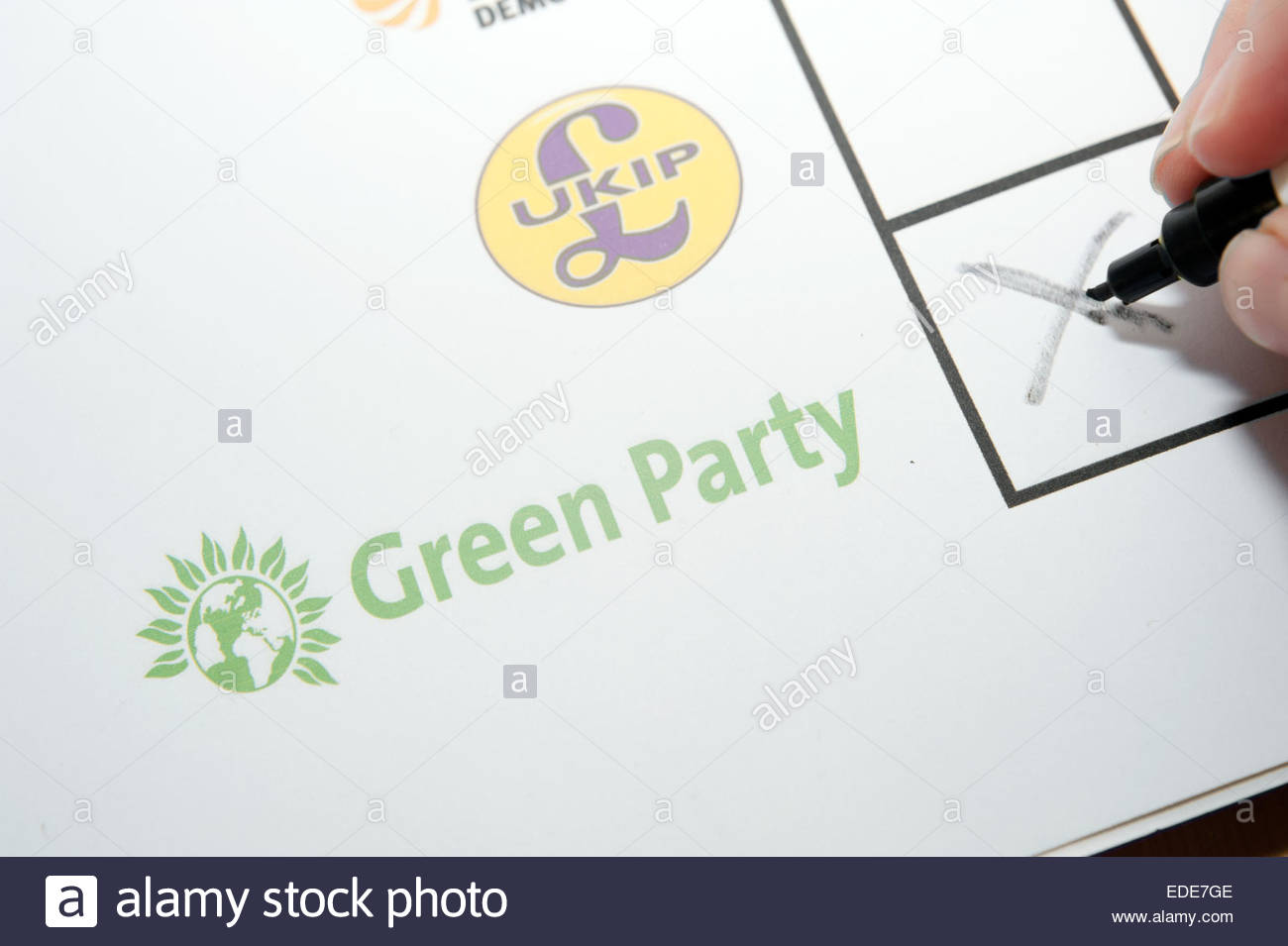 UK Elections ballot paper facsimile. Voting for the Green party. - Stock Image