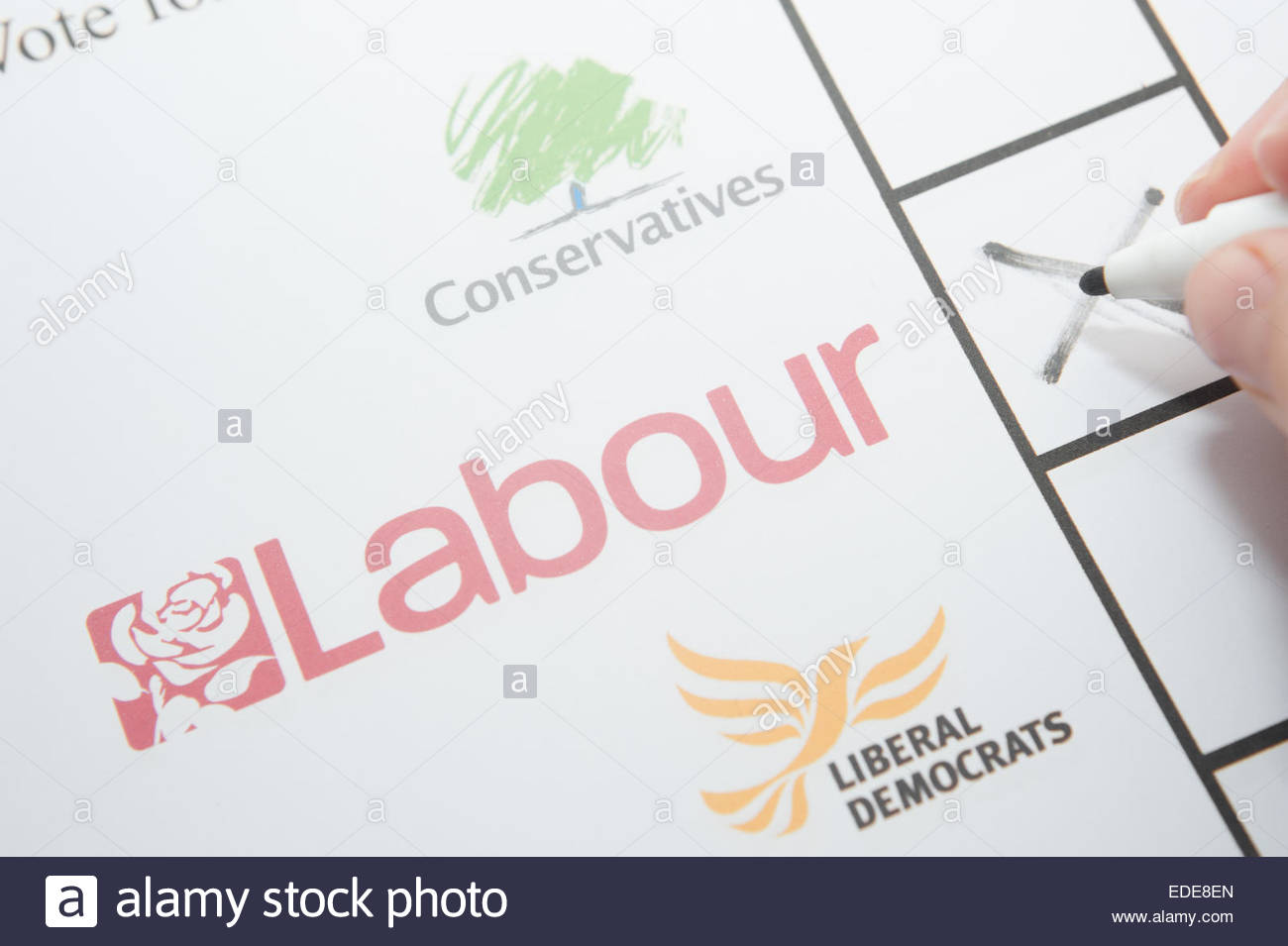 UK Elections ballot paper facsimile. Voting for the labour party. - Stock Image