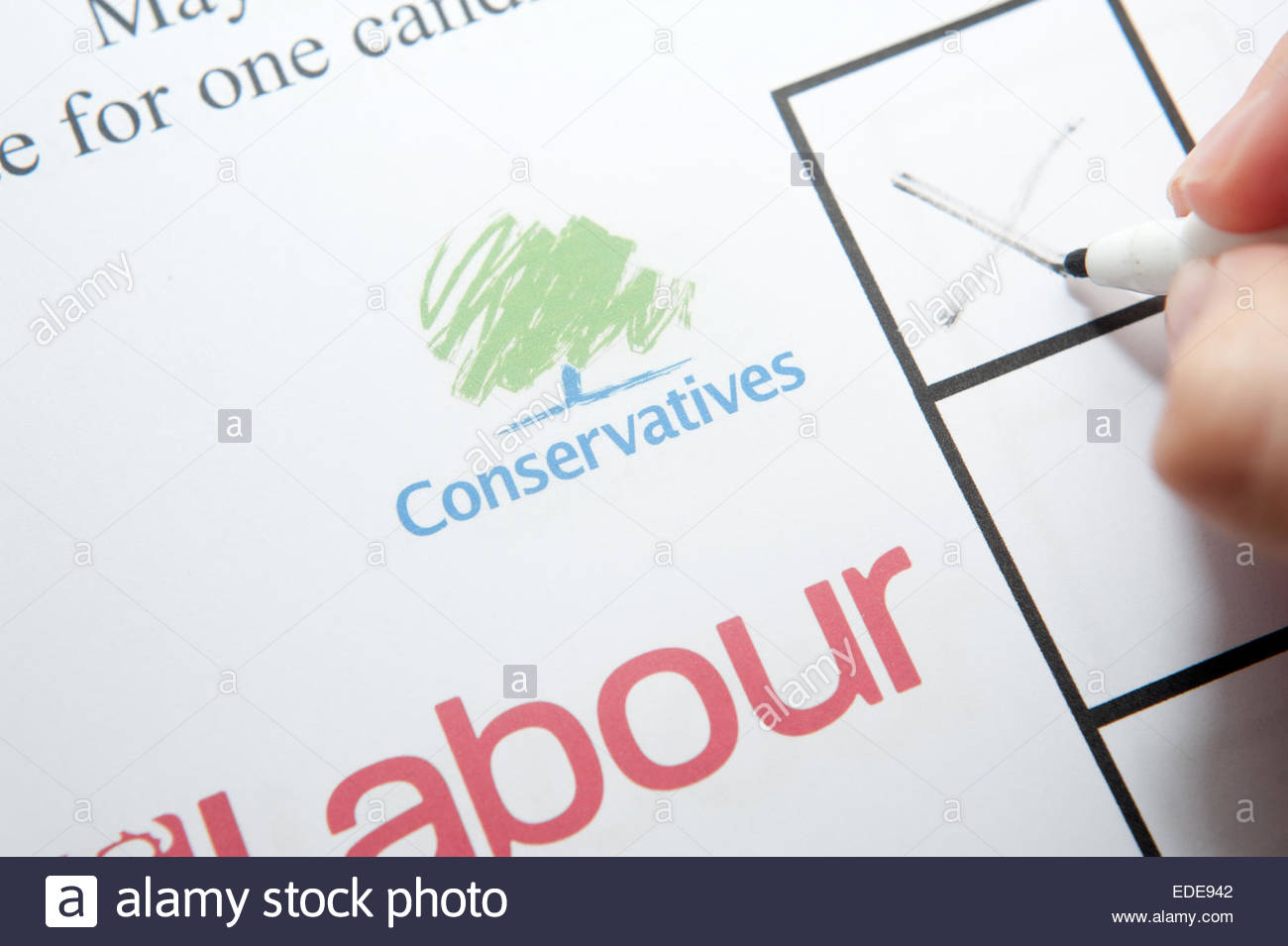 UK Elections ballot paper facsimile. Voting conservative party - Stock Image