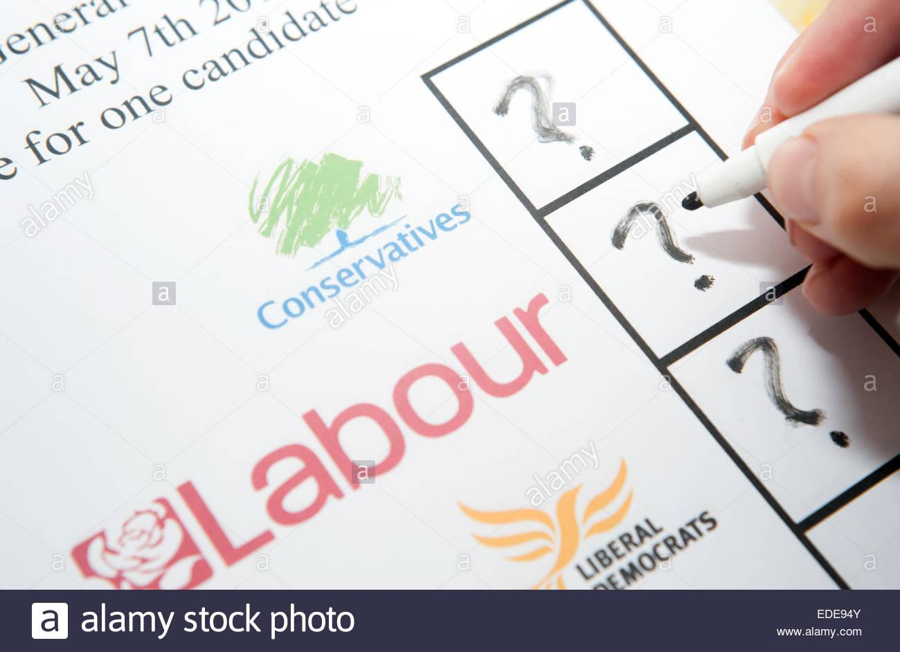 UK Elections ballot paper facsimile. Floating voter / undecided. - Stock Image