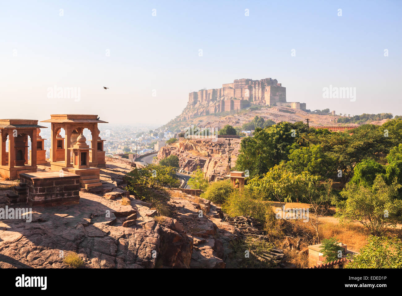 View of Mehrangarh Fort at Jodhpur in the mist - Stock Image