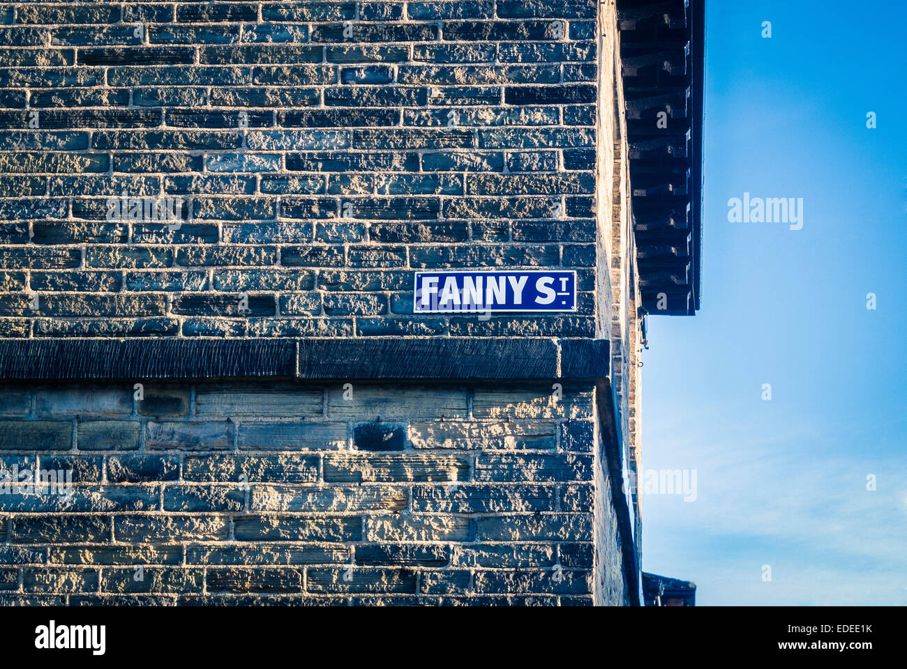 Fanny Street sign, Saltaire, West Yorkshire,  UK. - Stock Image