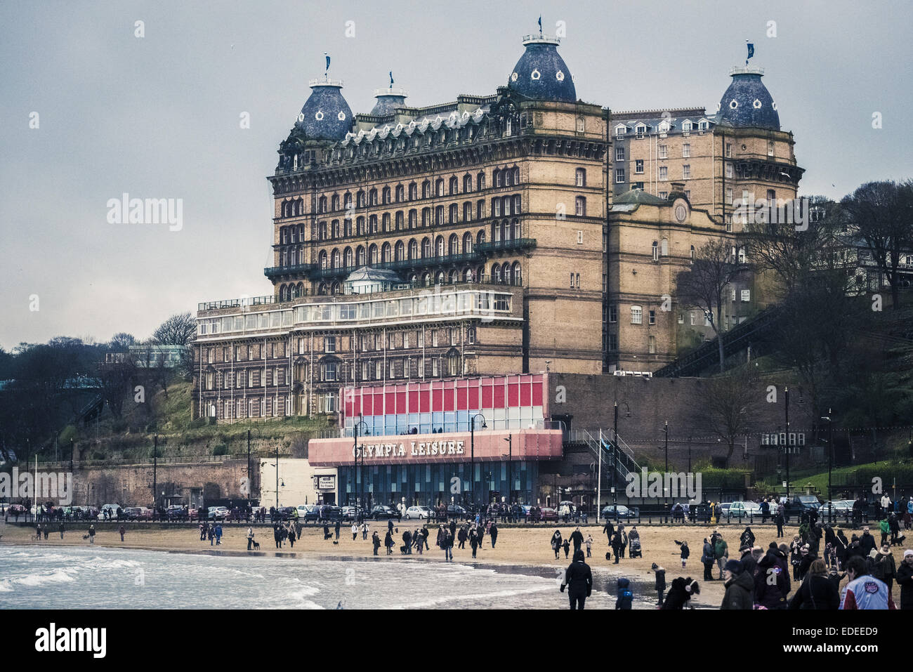 Grand Hotel and Olympia Leisure Amusements, Scarborough, North Yorkshire, UK. - Stock Image