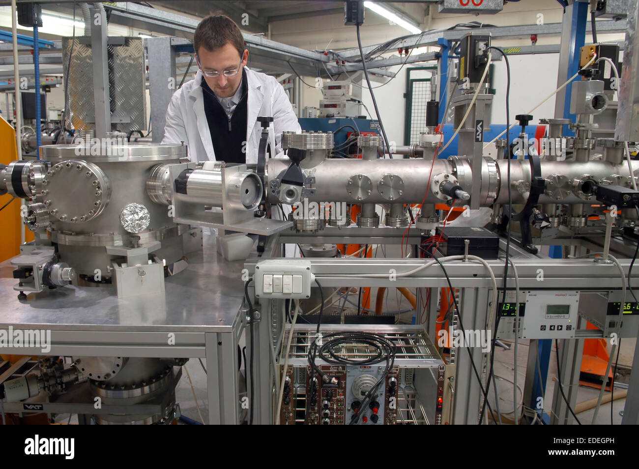 INFN (National Institute for Nuclear Physics), laboratories of Legnaro (Padova); ionian electrostatic accelerator Stock Photo