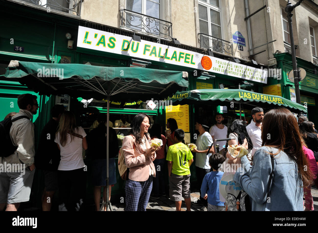 paris, marais, rue de rosiers, l'as du fallafel - Stock Image