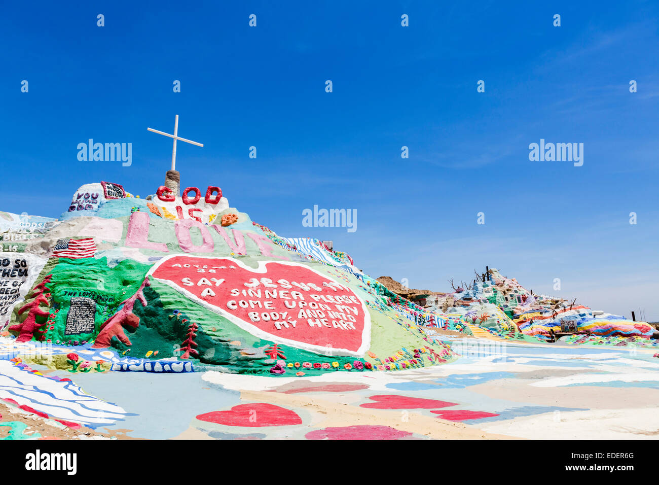 Salvation Mountain, Leonard Knight's large scale piece of religious folk art, Niland, Imperial County, California, Stock Photo