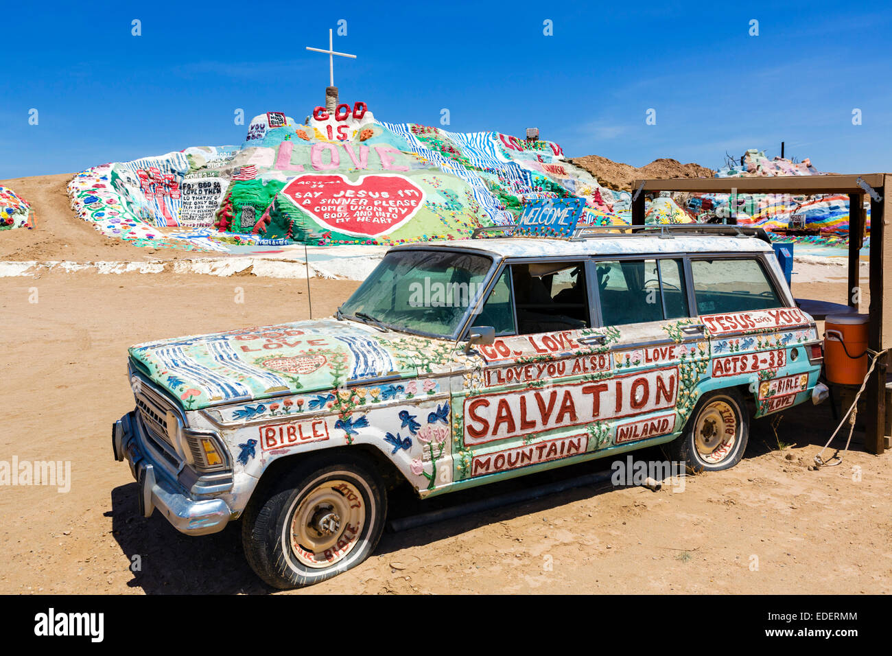 Painted car at Salvation Mountain, Leonard Knight's large scale piece of religious folk art, Niland, California, - Stock Image