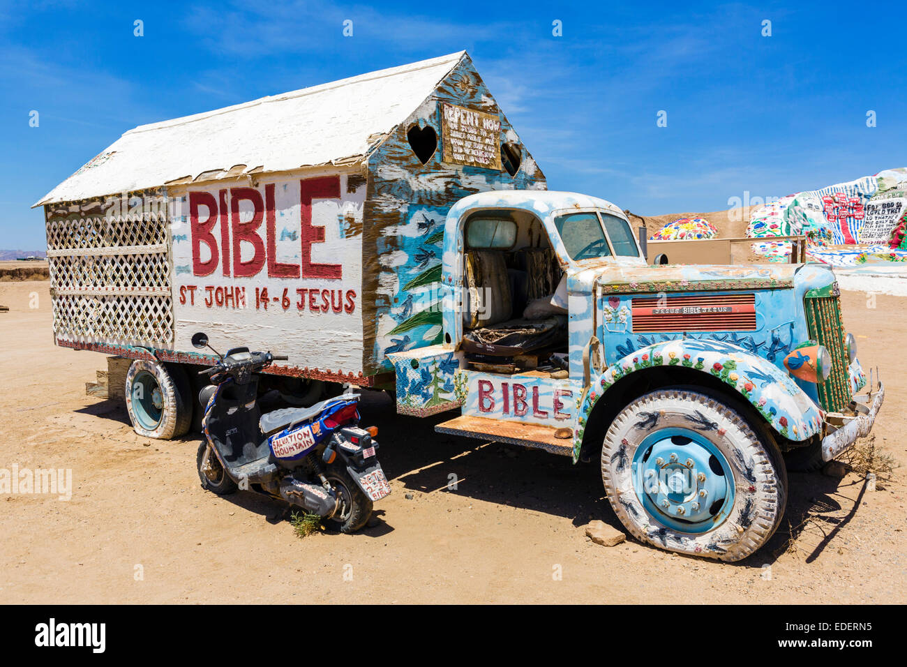 Painted truck at Salvation Mountain, Leonard Knight's large scale piece of religious folk art, Niland, California, - Stock Image