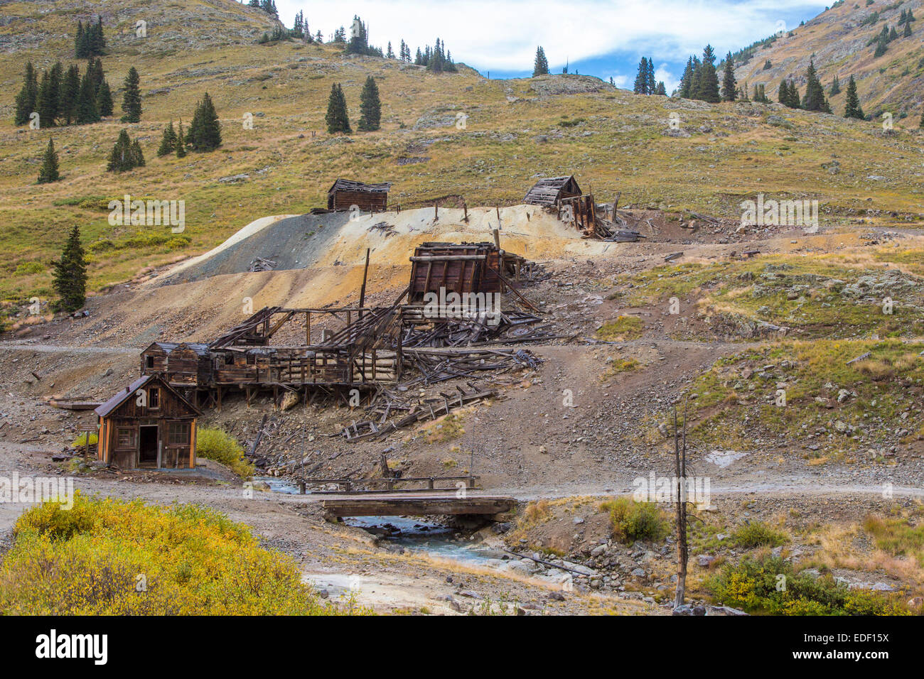 Animas Forks old mining camp ghost town on the Alpine Loop in the San Juan Mountains outside Silverton Colorado - Stock Image