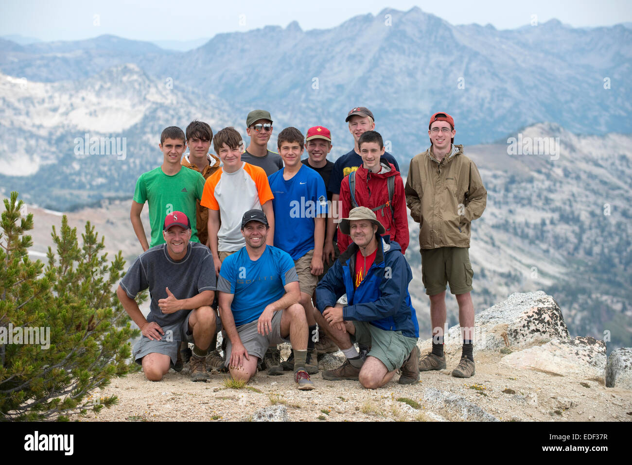 Troop 224 stands on the summit of Eagle Cap Peak in the Eagle Cap Wilderness in northeastern Oregon on Day 4 of - Stock Image