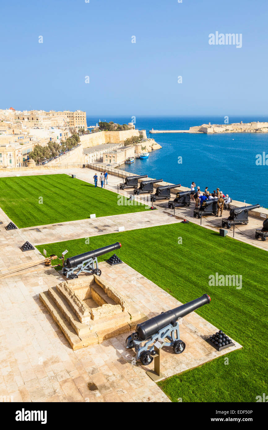 Upper Barrakka Gardens and Saluting Battery overlooking the Grand Harbour Valletta Malta EU Europe - Stock Image
