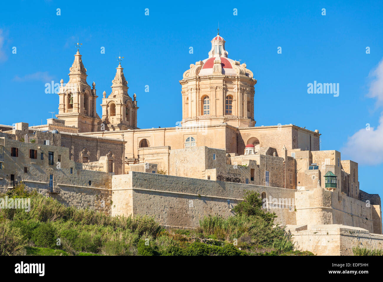 St Pauls Cathedral and Skyline of medieval walled city Mdina Malta EU Europe Stock Photo