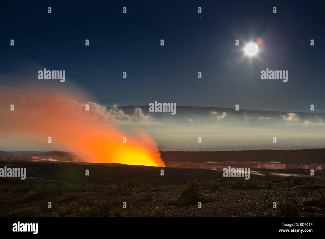 Halema`uma`u and Mauna Loa, Hawai`i Volcanoes National Park, Hawai`i - Stock Image