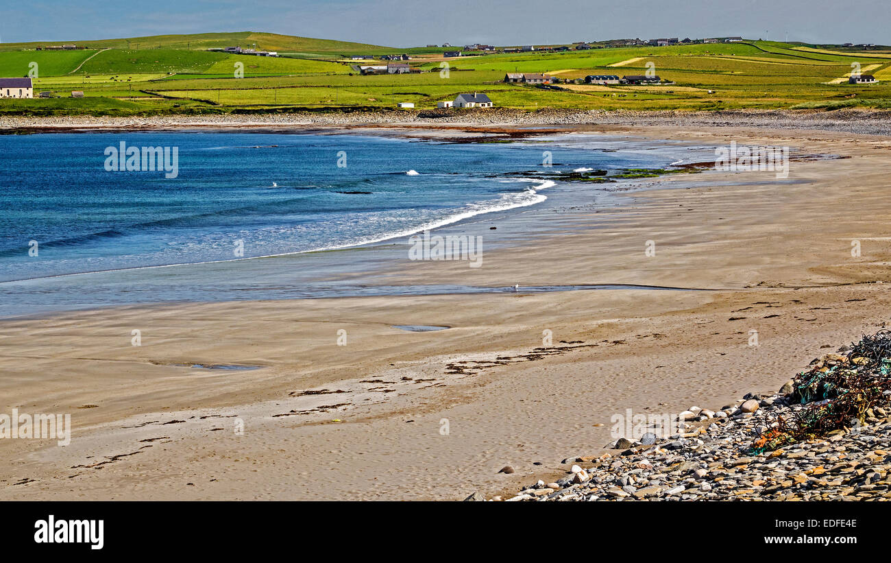 Deserted Beach Orkney Islands UK - Stock Image
