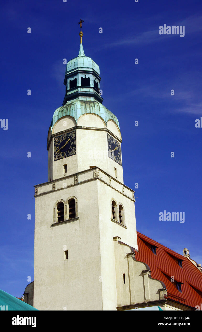 Neo-Renaissance clock tower of the church in Poznan - Stock Image