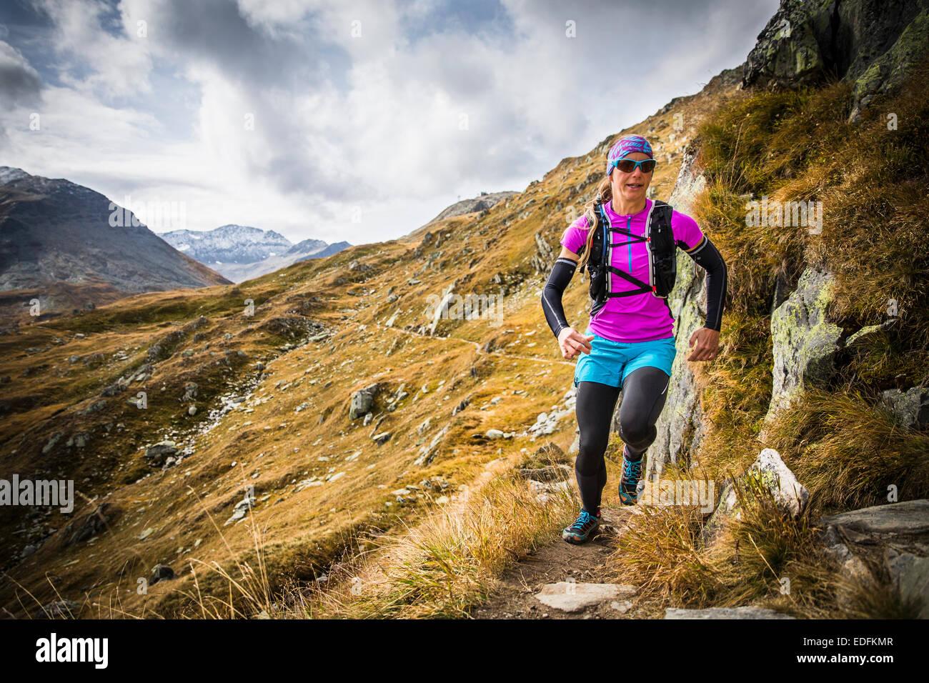 Trail Running, Furka, Switzerland - Stock Image