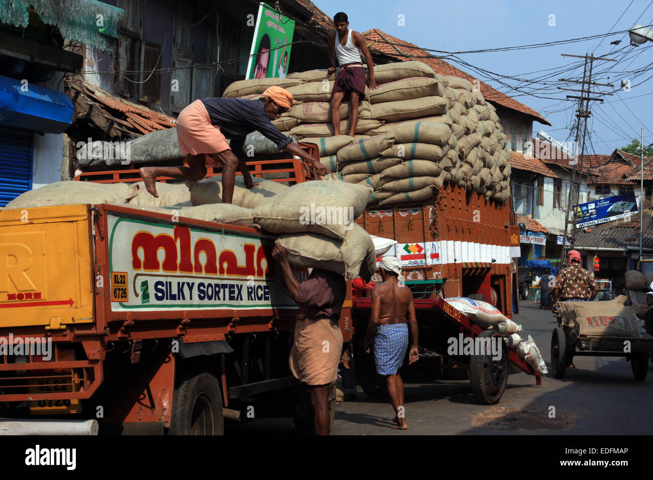 Men loading a truck with sacks of rice on Bazaar Road, Fort Cochin, India - Stock Image