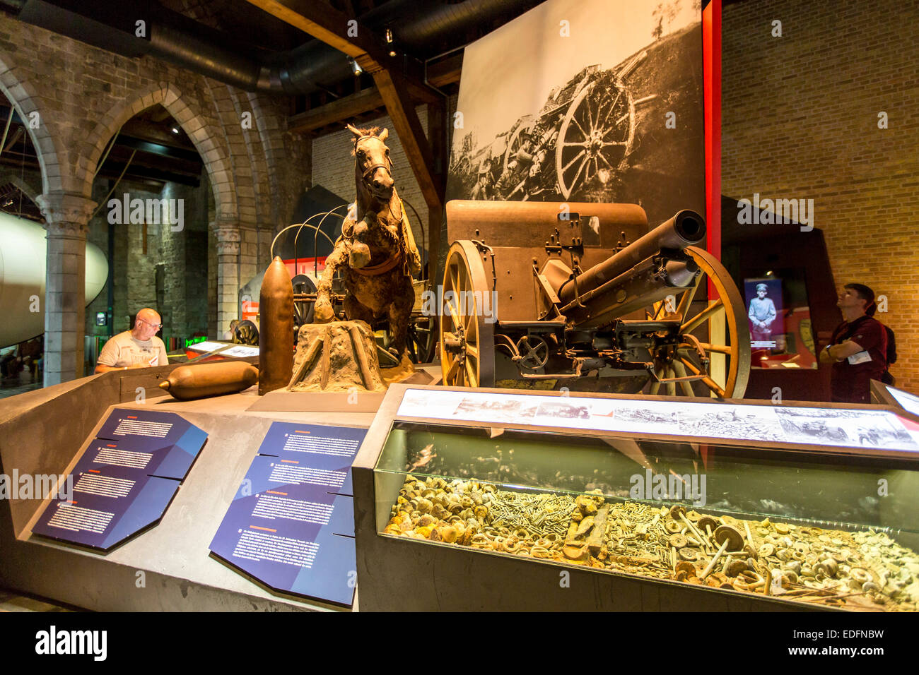'In Flandern Fields' war museum, about World War I, in Ypres, in the 'Lakenhal' building, UNESCO - Stock Image