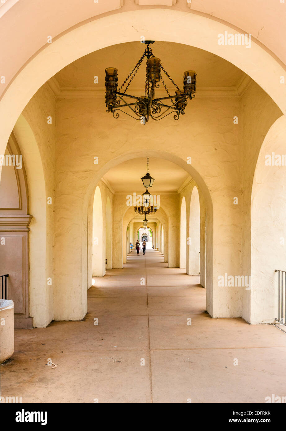Arcade in the Casa del Prado, Balboa Park, San Diego, California, USA - Stock Image