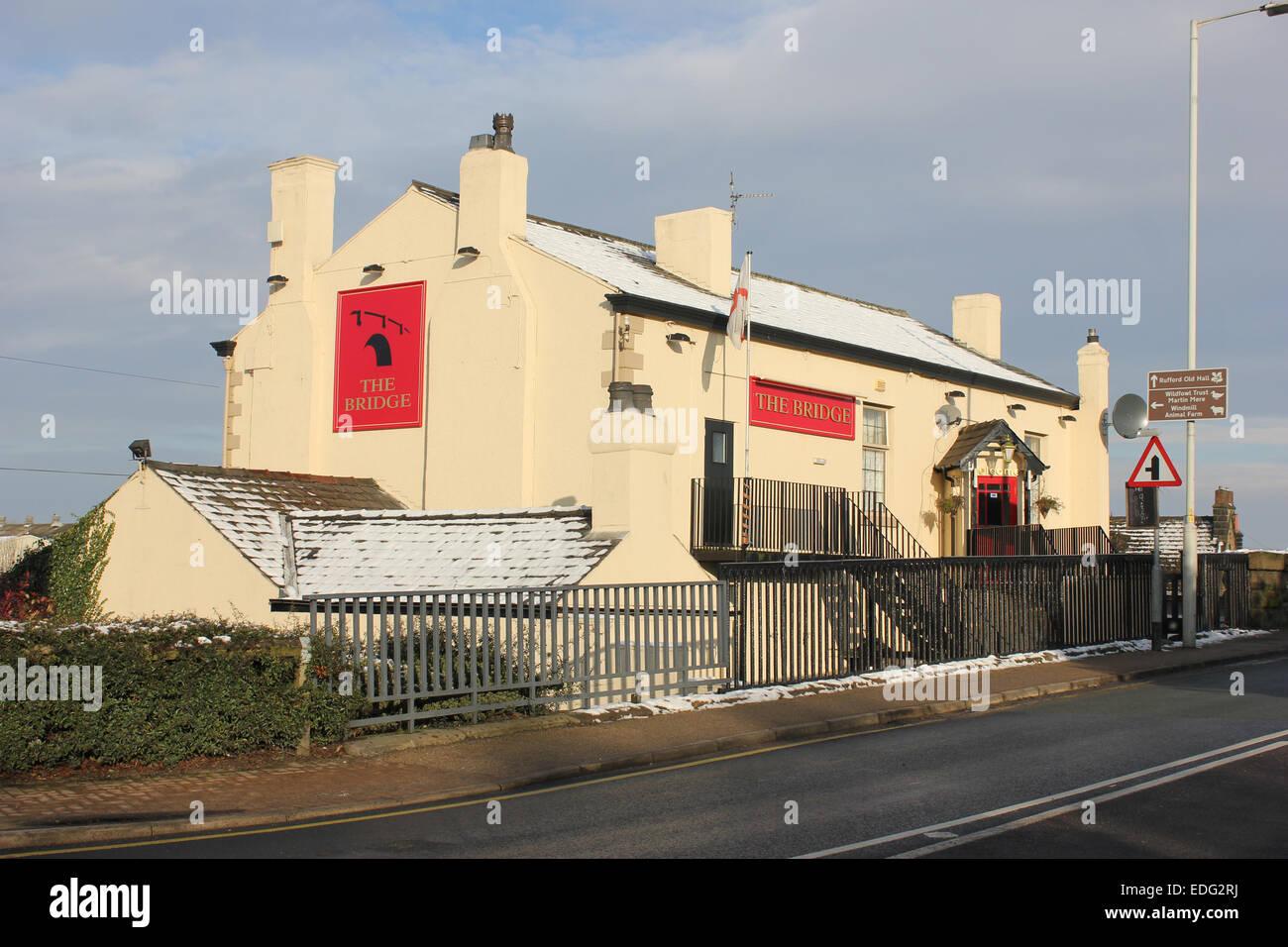 The Bridge pub in Burscough Bridge, West Lancashire. - Stock Image